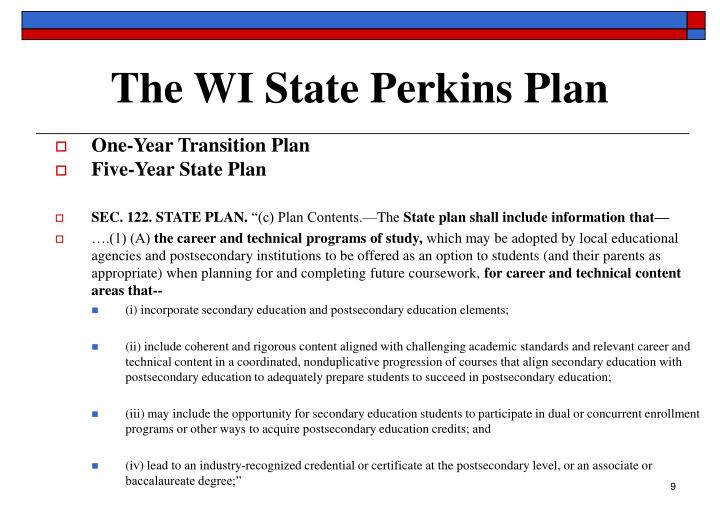The WI State Perkins Plan