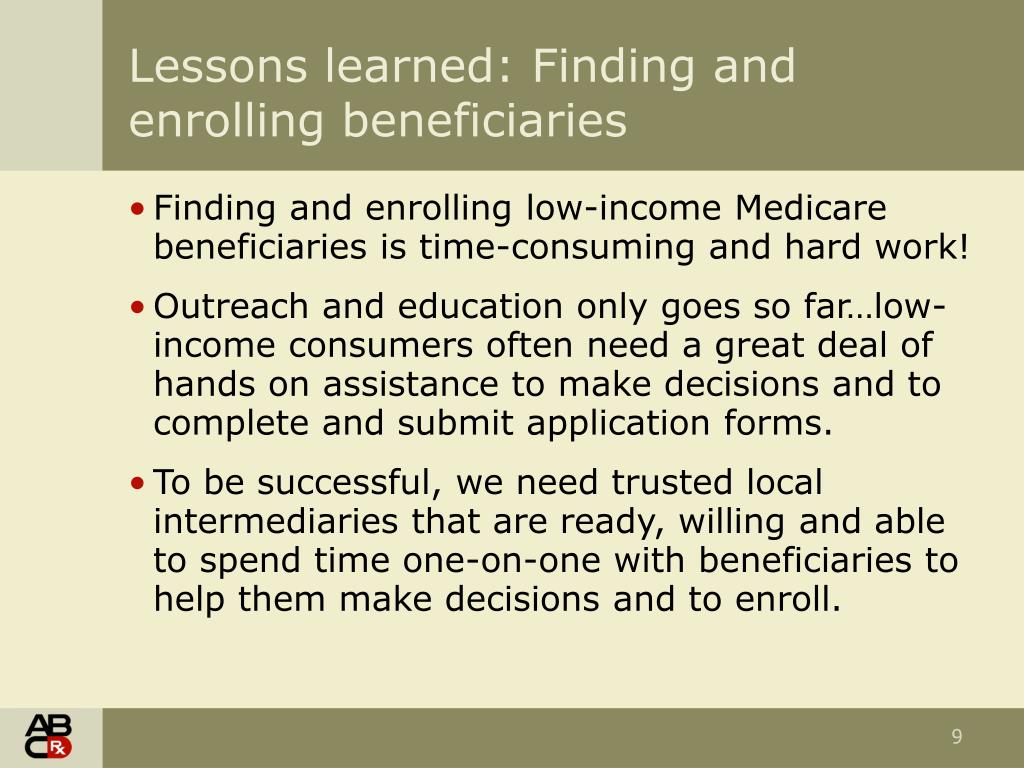 Lessons learned: Finding and enrolling beneficiaries