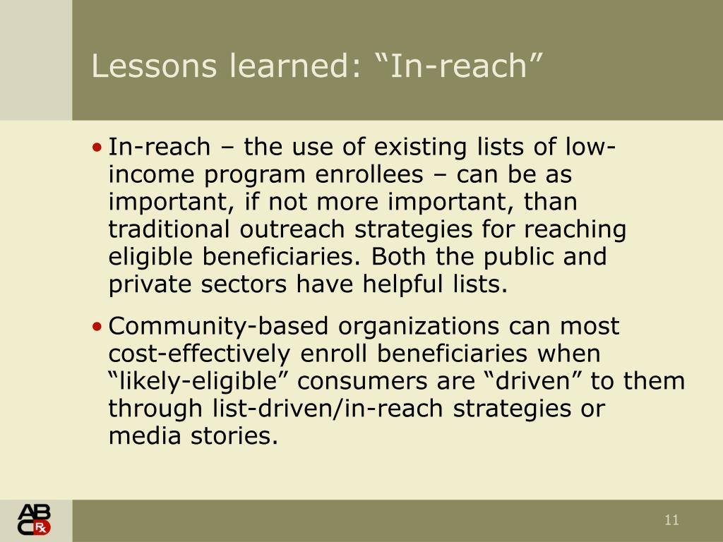 "Lessons learned: ""In-reach"""