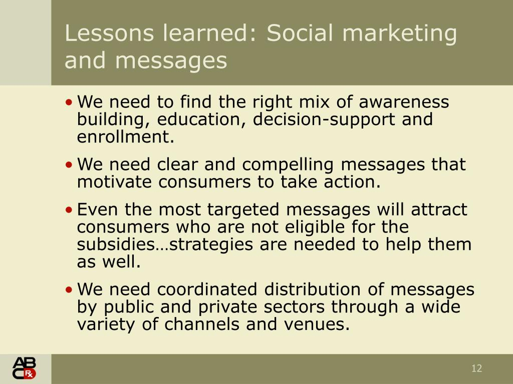 Lessons learned: Social marketing and messages