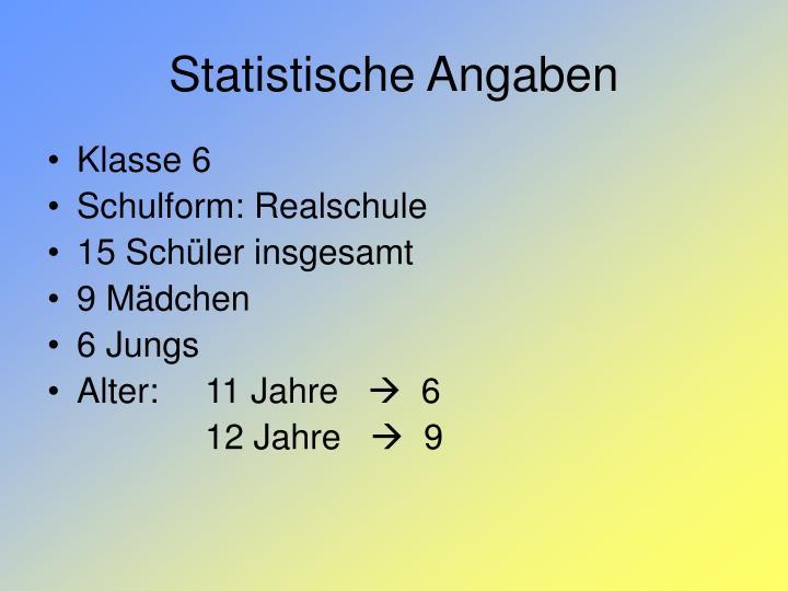 Statistische Angaben