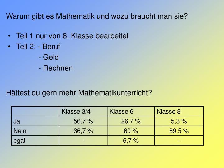 Warum gibt es Mathematik und wozu braucht man sie?