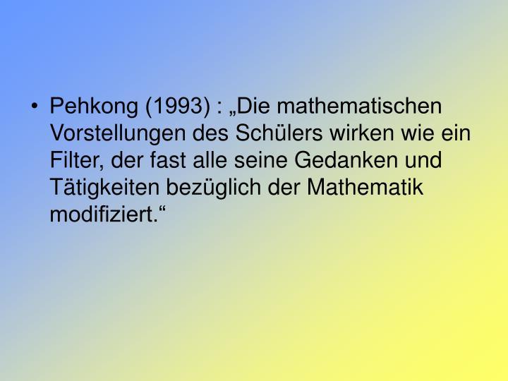 """Pehkong (1993) : """"Die mathematischen Vorstellungen des Schülers wirken wie ein Filter, der fast alle seine Gedanken und Tätigkeiten bezüglich der Mathematik modifiziert."""""""