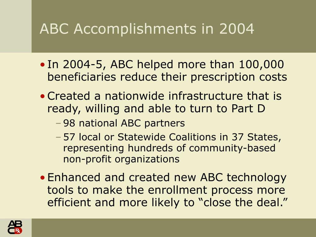 ABC Accomplishments in 2004