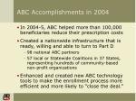 abc accomplishments in 2004
