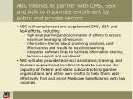 abc intends to partner with cms ssa and aoa to maximize enrollment by public and private sectors