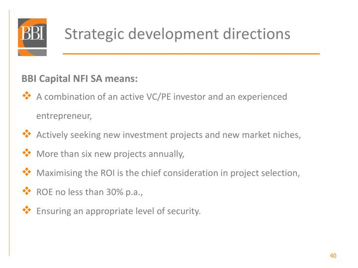 Strategic development directions
