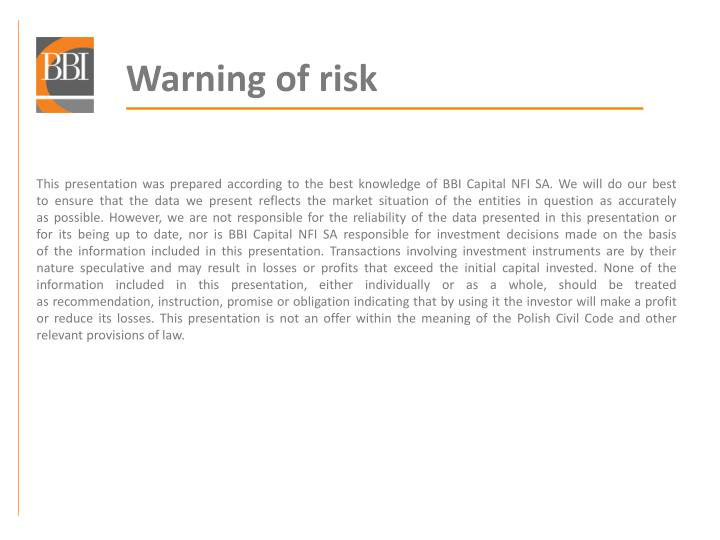 Warning of risk