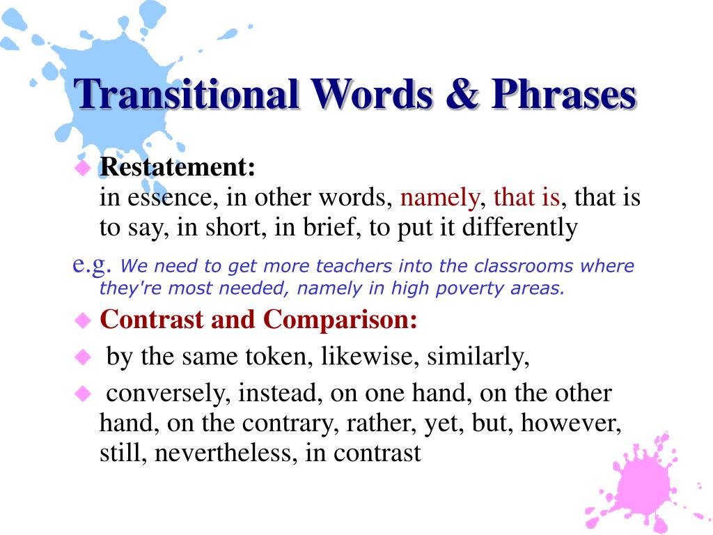 Transitional Words & Phrases