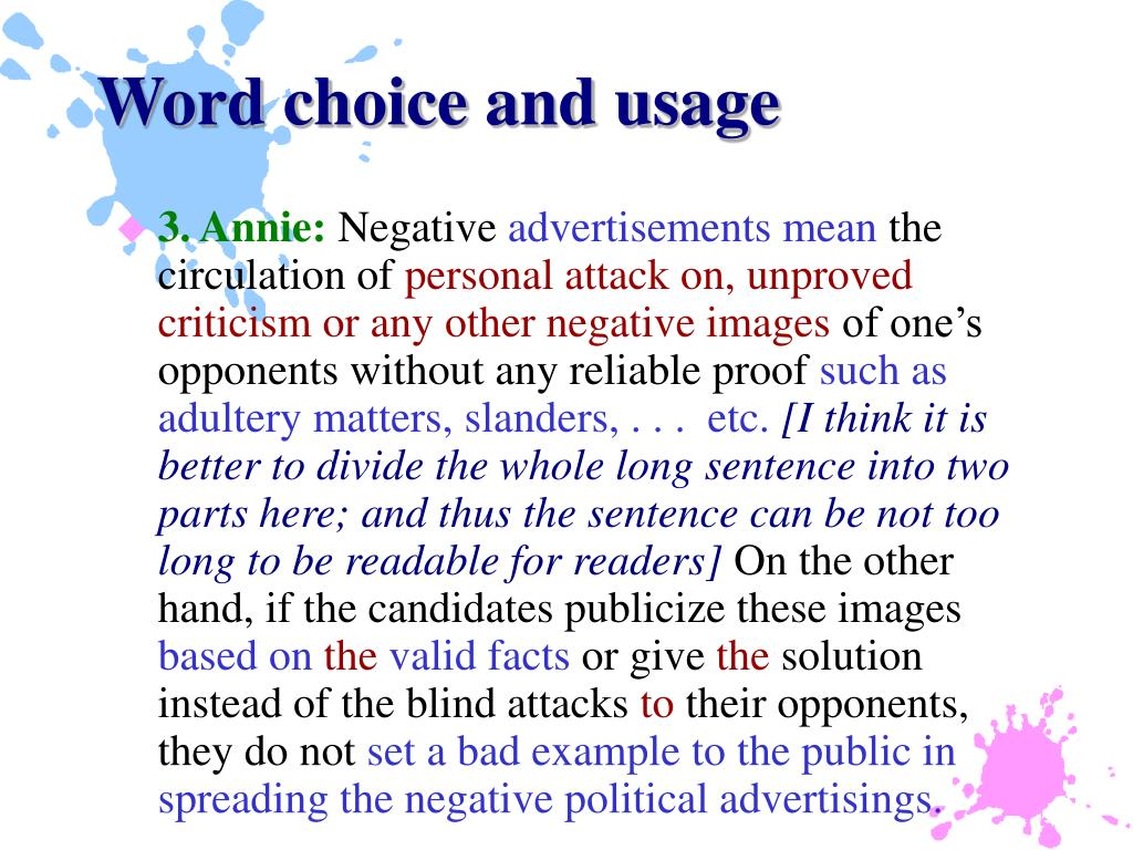 Word choice and usage