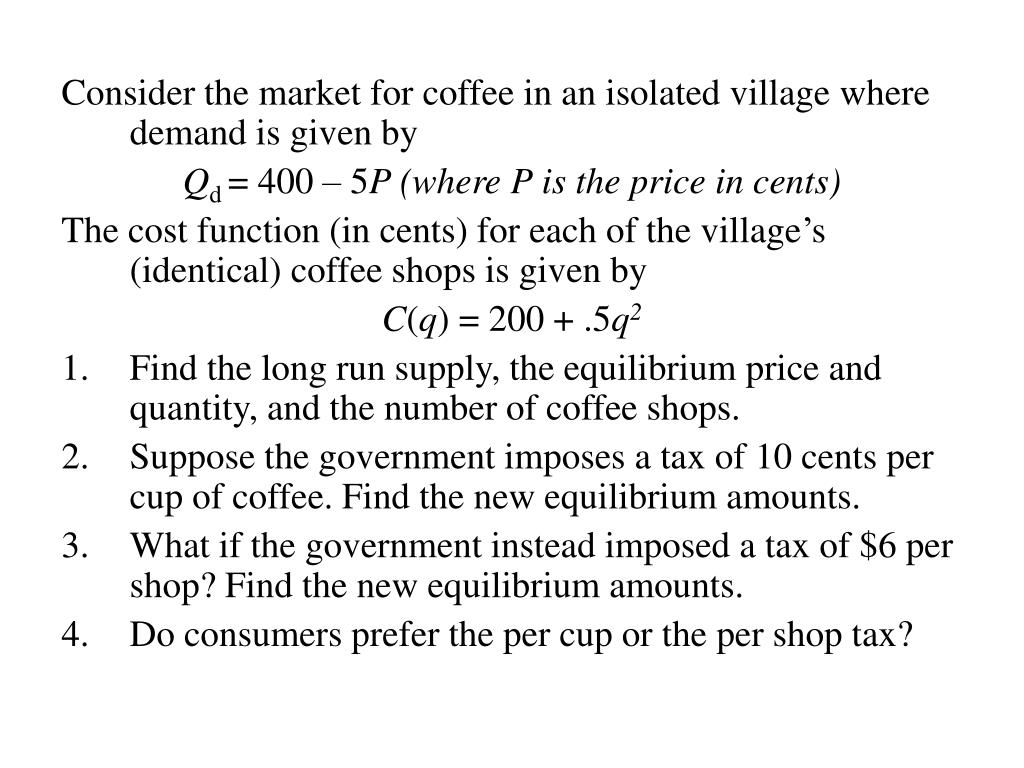 Consider the market for coffee in an isolated village where demand is given by