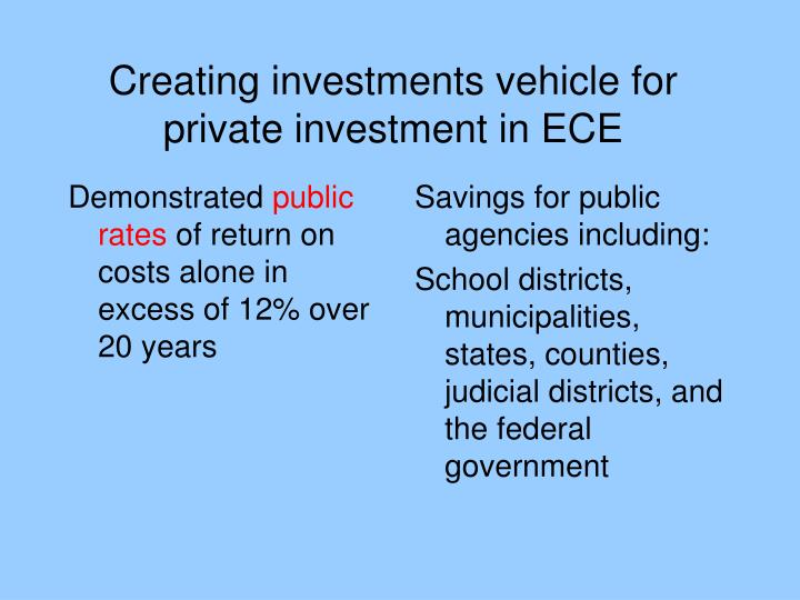 Creating investments vehicle for private investment in ECE