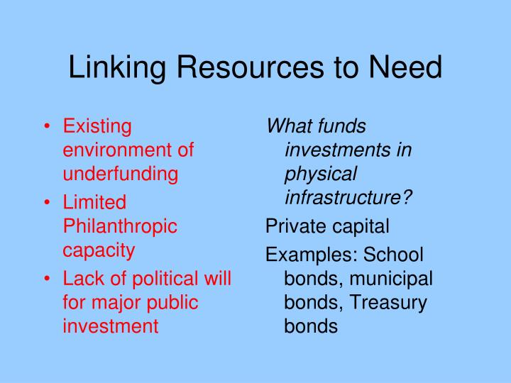 Linking Resources to Need