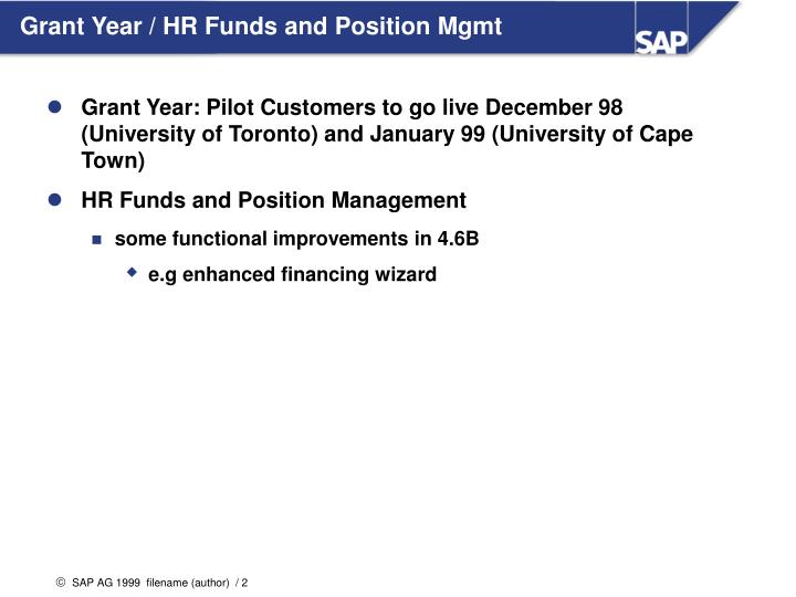Grant year hr funds and position mgmt