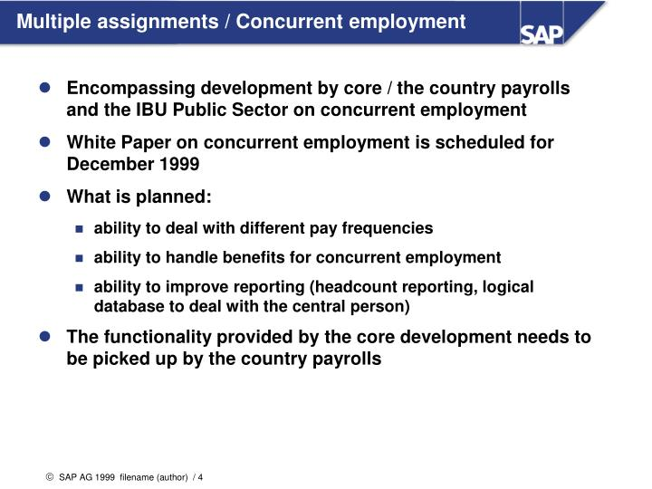 Multiple assignments / Concurrent employment