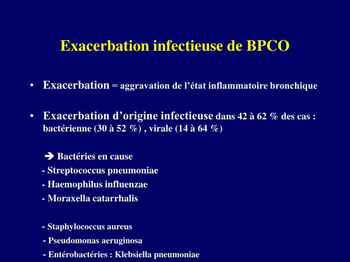 Exacerbation infectieuse de BPCO
