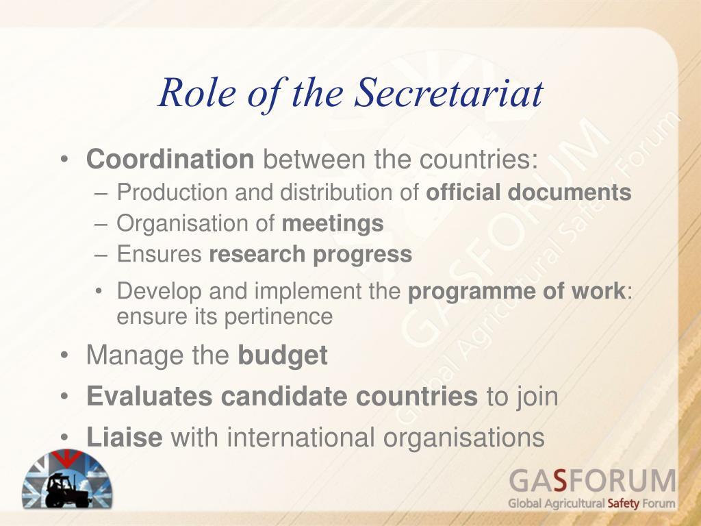 Role of the Secretariat