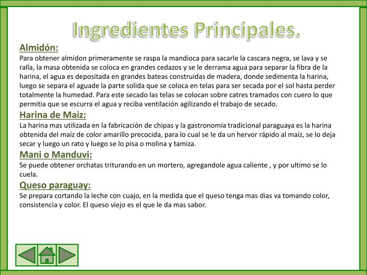 Ingredientes Principales.