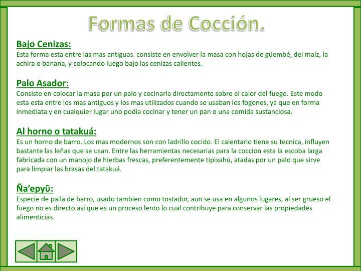 Formas de Cocción.