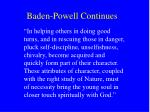 baden powell continues