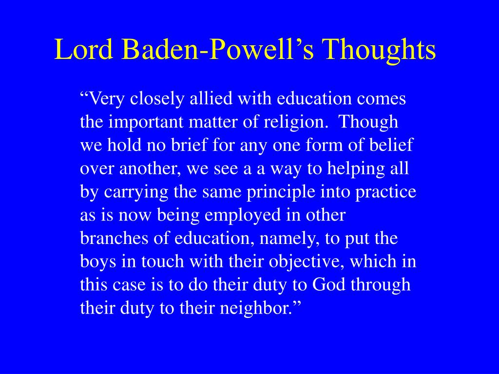 Lord Baden-Powell's Thoughts