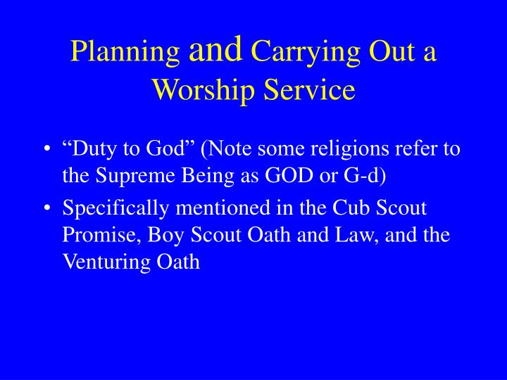 Planning and carrying out a worship service
