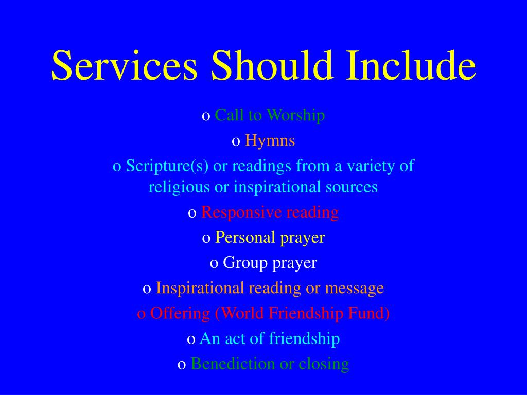 Services Should Include