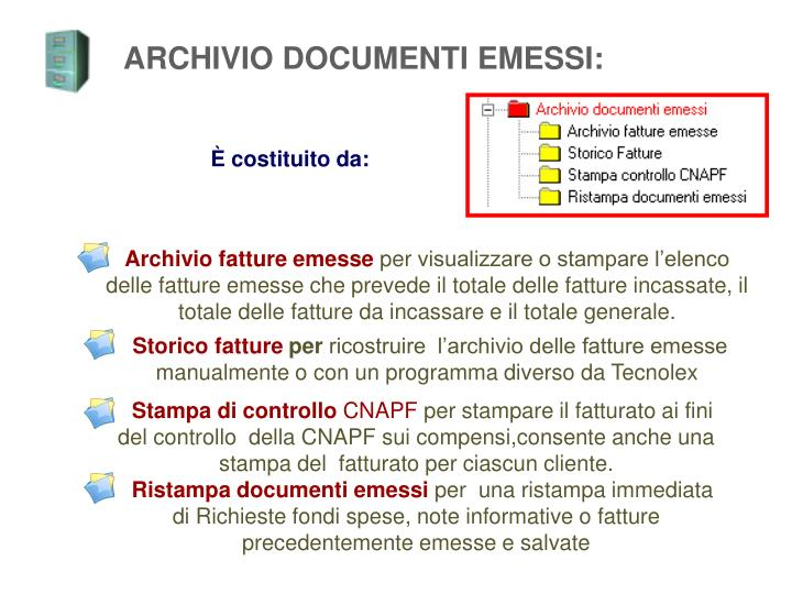 ARCHIVIO DOCUMENTI EMESSI: