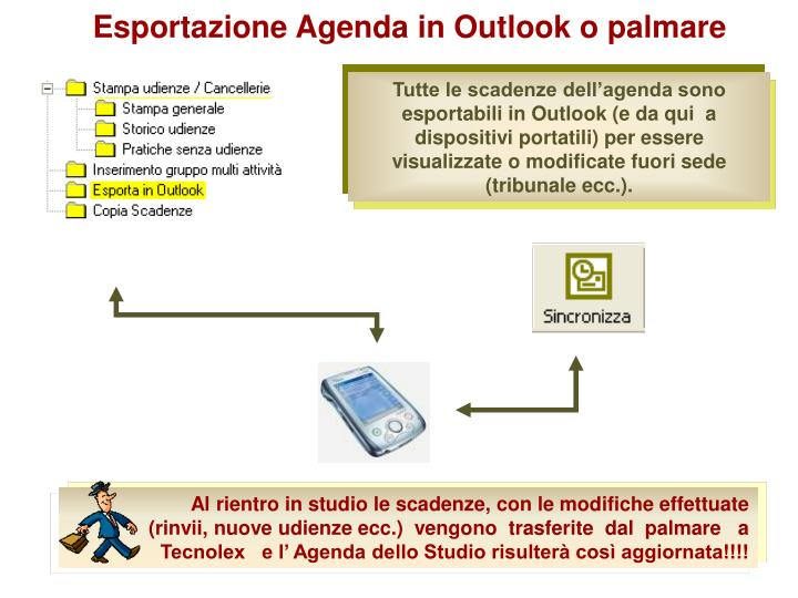 Esportazione Agenda in Outlook o palmare