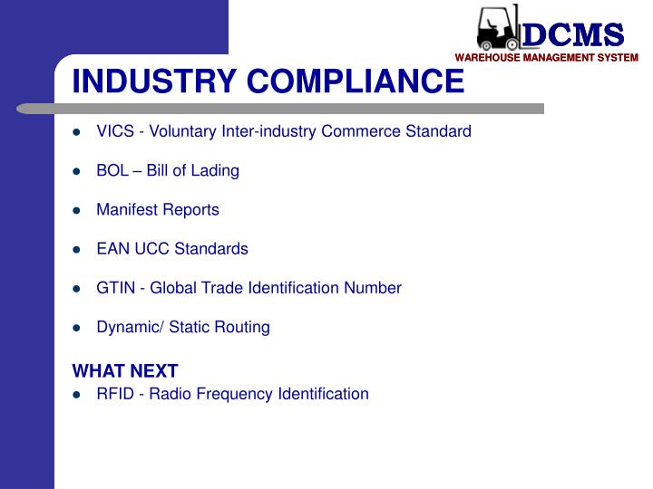 INDUSTRY COMPLIANCE