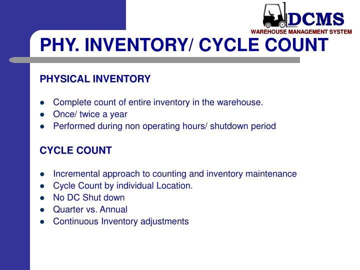 PHY. INVENTORY/ CYCLE COUNT