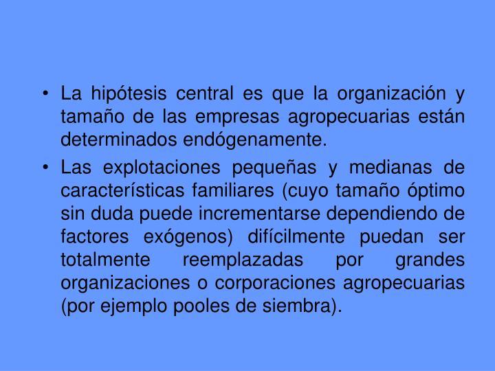 La hipótesis central es que la organización y tamaño de las empresas agropecuarias están determinados endógenamente.