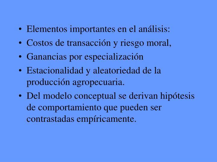 Elementos importantes en el análisis: