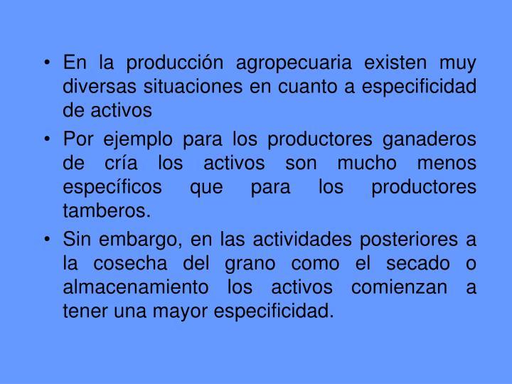 En la producción agropecuaria existen muy diversas situaciones en cuanto a especificidad de activos