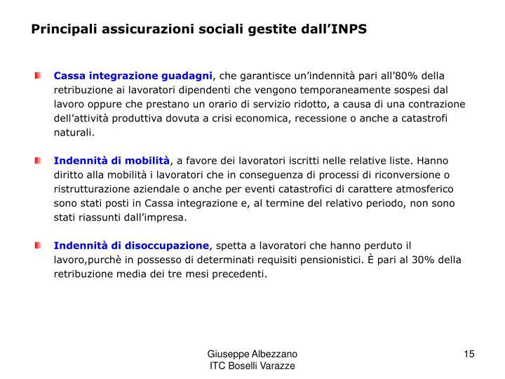 Principali assicurazioni sociali gestite dall'INPS