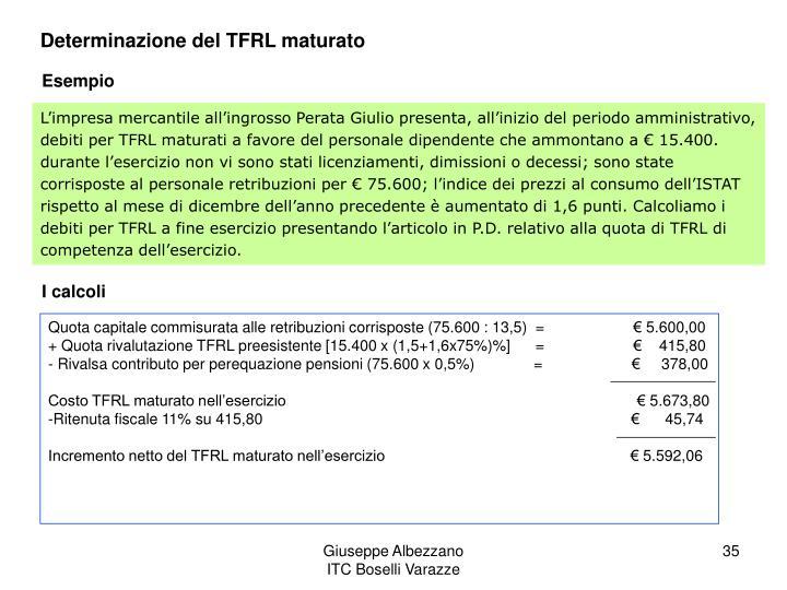 Determinazione del TFRL maturato
