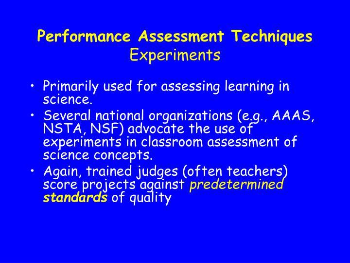 Performance Assessment Techniques