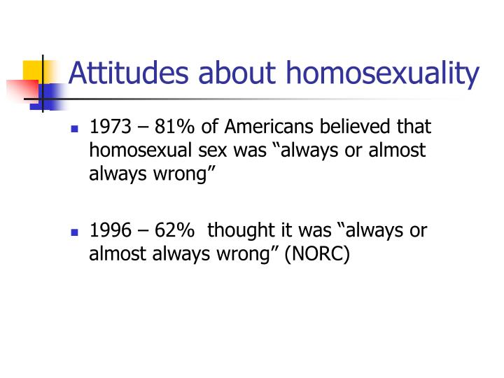 Attitudes about homosexuality