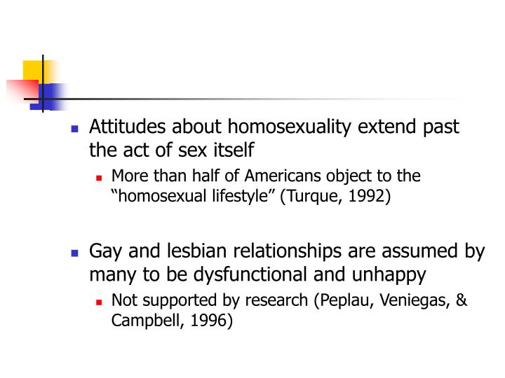 Attitudes about homosexuality extend past the act of sex itself