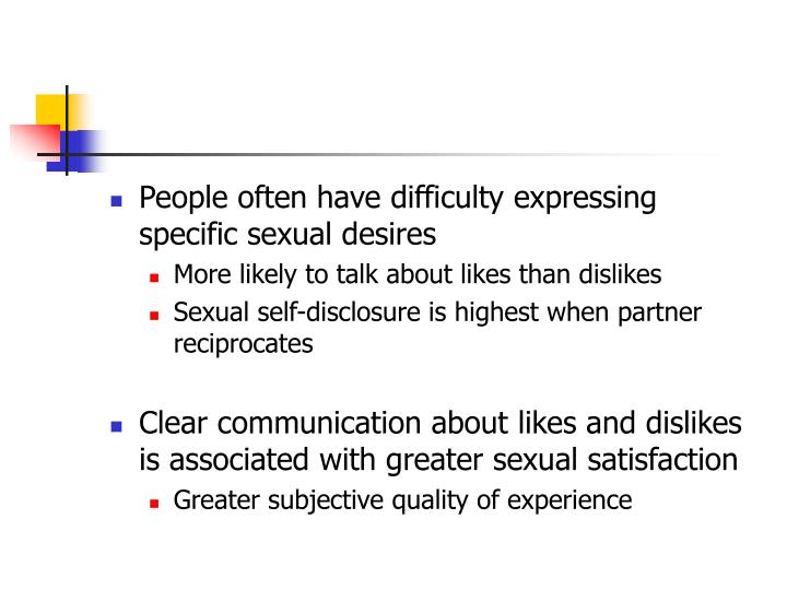 People often have difficulty expressing specific sexual desires