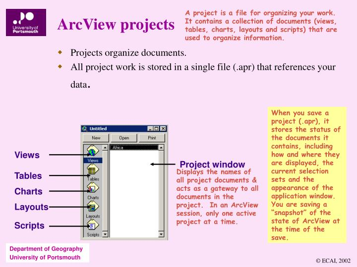 A project is a file for organizing your work.  It contains a collection of documents (views, tables, charts, layouts and scripts) that are used to organize information.
