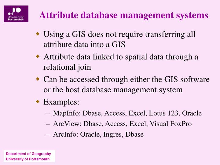 Attribute database management systems