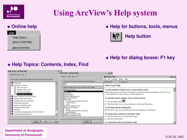 Using ArcView's Help system