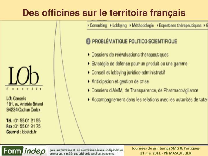 Des officines sur le territoire français