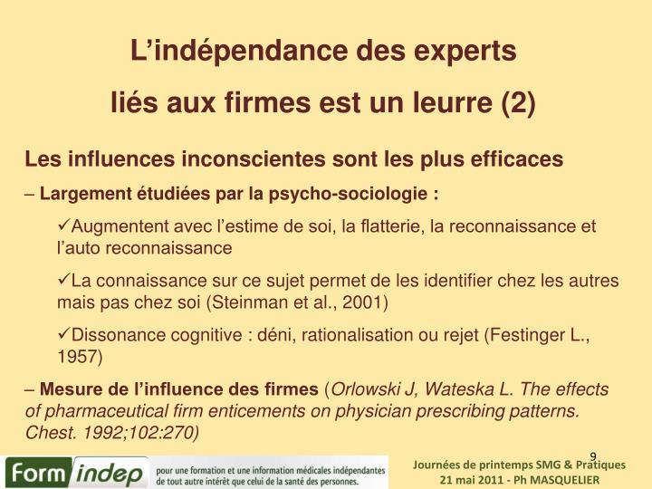 L'indépendance des experts