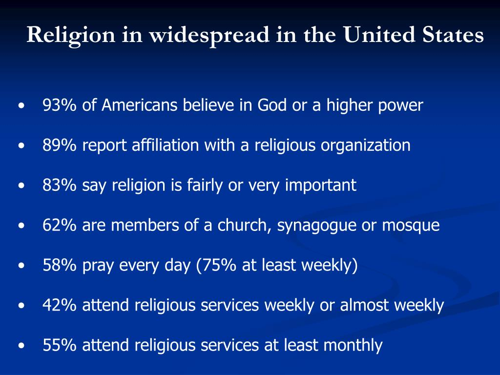 Religion in widespread in the United States