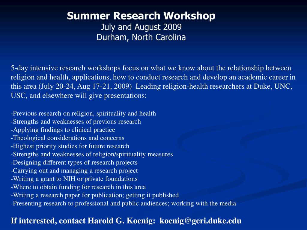 Summer Research Workshop