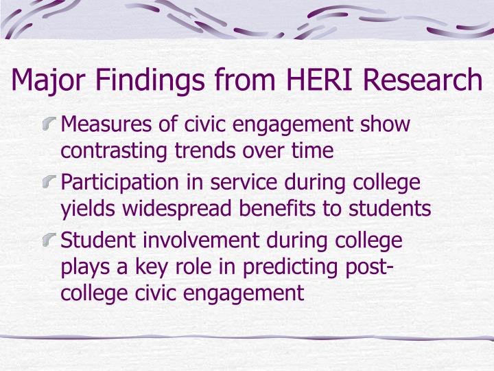 Major findings from heri research l.jpg