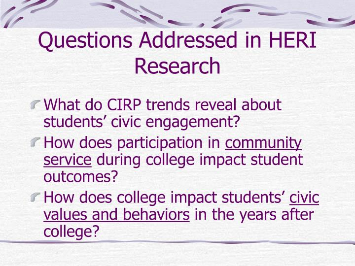 Questions addressed in heri research l.jpg