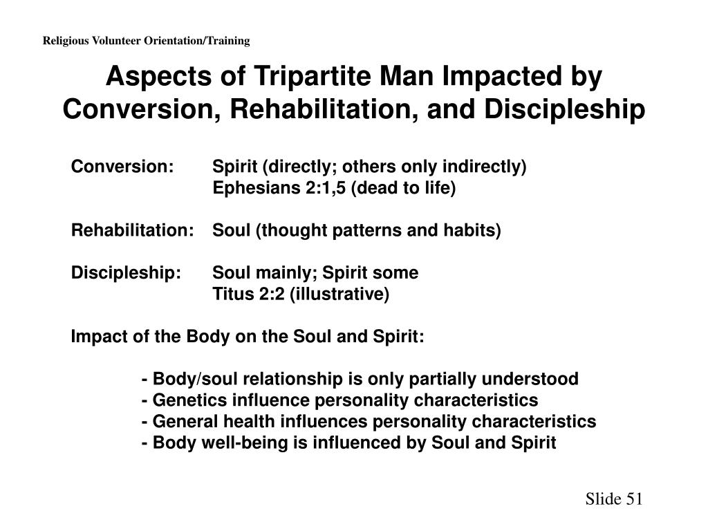 Aspects of Tripartite Man Impacted by Conversion, Rehabilitation, and Discipleship